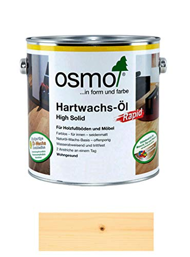 Osmo Hartwachs-Öl Rapid 3232, schnelltrocknend, seidenmatt, 2,5 l + Ölsaugtuch