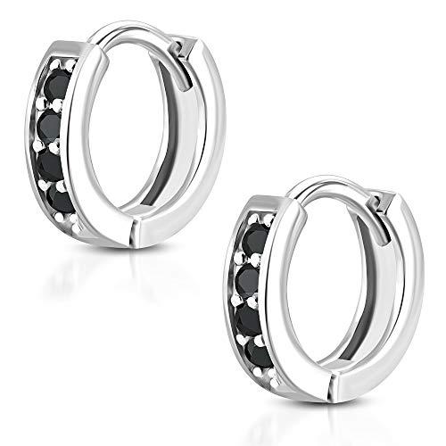 Tata Gisèle - Pendientes pequeños de aro de acero inoxidable plateado – 4 cristales negros