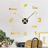 Reloj De Pared Decorativo Reloj De Pared Grande Creativo DIY Reloj De Pared Moderno 3D Con Pegatinas De Números De Espejo Para Decoraciones De Oficina En Casa Oficina (Size:Free Size; Color:Gold)
