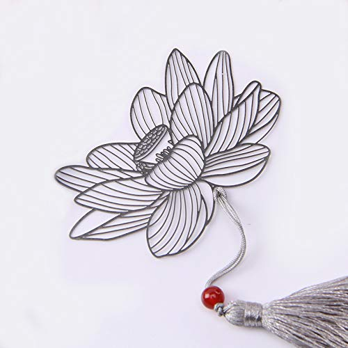 School Product Creative Blossoming Flower Bookmarks Metal Hollow Lotus Bookmarks with Tassel Gift for Girls Boys Adults Bookworms Student Stationary (White)