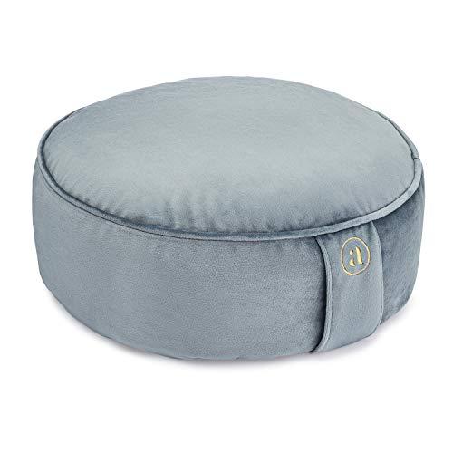 Buckwheat Meditation Cushion Round Zafu Yoga Pillow - Zafu Meditation Cushion Velvet with Zippered Organic Cotton Liner to Add or Remove Hulls | Machine Washable - Free Carry Bag (Celestite Crystal)