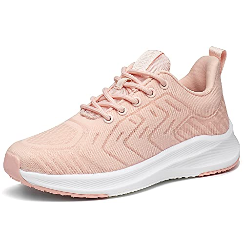Zapatillas Deportivas de Mujer Cordones Zapatos de Ligero Running Fitness Zapatillas de para Correr Antideslizantes Amortiguación Sneakers Rosa 39