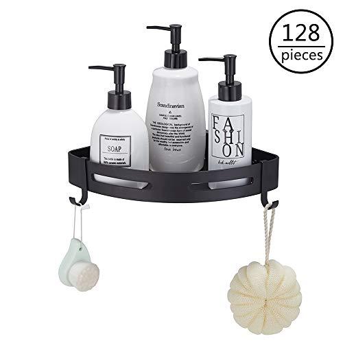 Find Bargain Case of 4 packs, 32/pack,Gricol Bathroom Triangle Shower Shelf with Hooks Black