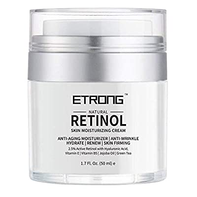 Retinol Moisturizer Cream,ETRONG Anti-aging Wrinkle Night/Day Cream for Face and Eye with 2.5% Retinol,Hyaluronic,Vitamin E and Jojoba Oil