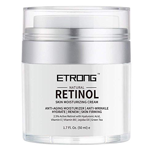 Retinol Moisturizer Cream,ETRONG Anti-aging Wrinkle Night/Day Cream for Face and Eye with 2.5% Retinol,Hyaluronic,Vitamin E and Jojoba Oil