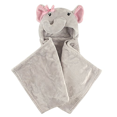 Hudson Baby Unisex Baby and Toddler Hooded Animal Face Plush Blanket, Pretty Elephant, One Size