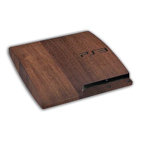atFoliX Skin kompatibel mit Sony Playstation 3 Slim, Designfolie Sticker (FX-Wood-Teak), Holz-Struktur / Holz-Folie