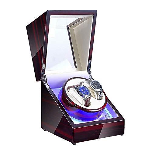 FFAN Enrollador de Reloj de Cuerda automática con luz LED Caja de enrollador de Reloj Almohada de Reloj Suave Adaptador de CA y Motor silencioso Alimentado por batería (Color: Blanco, Tamaño: 2 + 3)