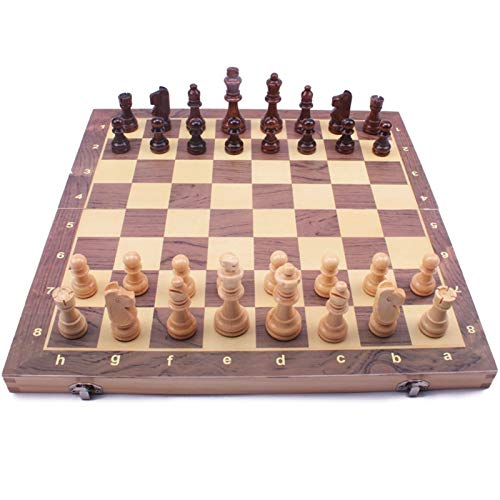 chaonong Schach High-End Massivholz Kinder Studentenwettbewerb Spezielle Große Schachfiguren Schwarz-Weiß-Schachbrett Holz Western Chessoard Männer Damen Geschenk (Size : Medium)
