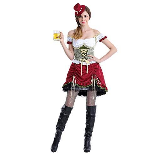 WANXX Vestido de Mujer Oktoberfest Falda Corta Role Playing Oktoberfest Clothing Disfraces de Cerveza Son Todos Código