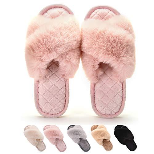 Gainsera Pantofole Peluche Donna Invernali Pantofole Pelliccia Comode Morbido Antiscivolo Ciabatte da Casa,a Rosa 40-41 EU