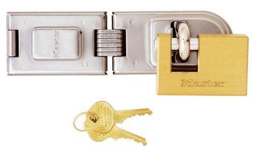 Master Lock 606720EURD Kit Acciaio cementato 16cm con Cerniere + Lucchetto Rettangolare Ottone 63mm