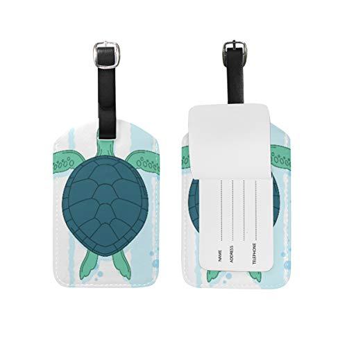 Cartoon Turtle Etichette per Bagagli,Valigie Bagaglio Etichetta Indirizzo Nome Id Tag in Pelle per Viaggio (2pezzi)