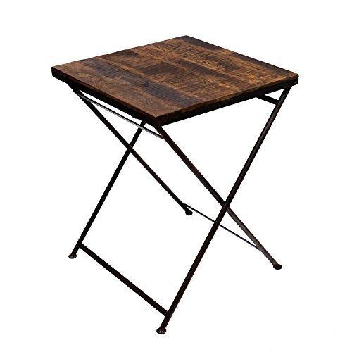 Brillibrum Design großer massiver Klapptisch aus Echtholz FSC-zertifiziert klappbarer Esstisch Metallgestell ideal als Gartentisch Balkontisch Tischplatte Küchentisch aus Holz stabil Vintage Rustikal klappbar