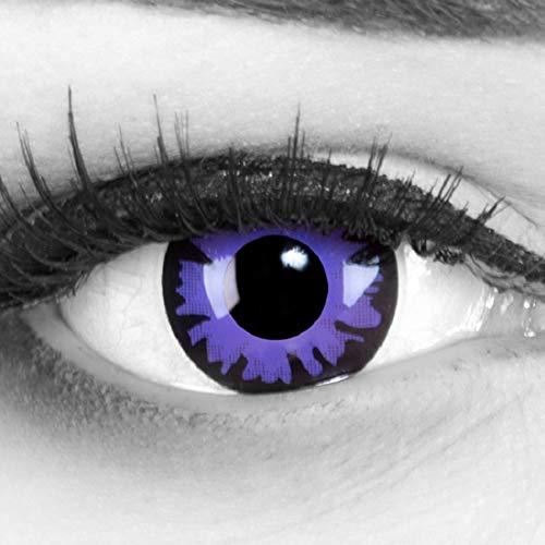 Funnylens 1 Paar farbige lila violet schwarze Crazy Fun Jahres Kontaktlinsen Toxic Plum mit gratis Linsenbehälter. Perfekt zu Halloween, Fasching und Karneval.