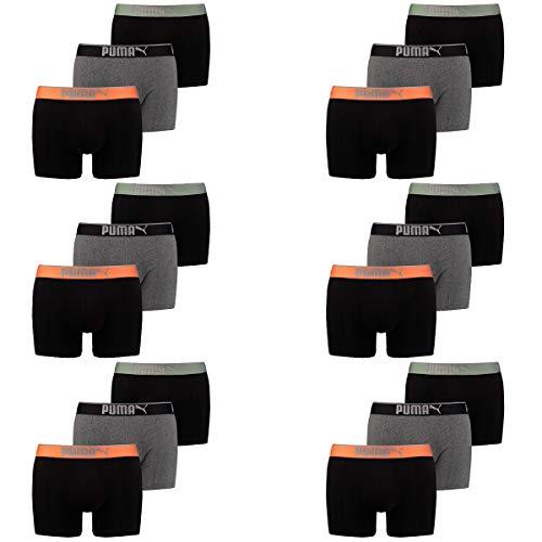 PUMA Herren Boxershort Lifestyle Sueded Cotton 18 er Pack, Farbe:318 - Black/orange, Bekleidungsgröße:S