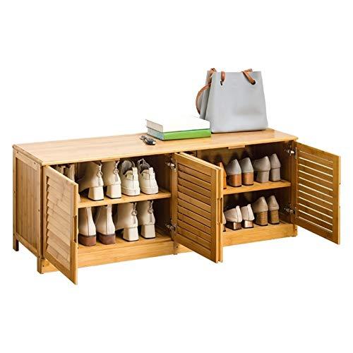 HHOSBFSS Cambio De Zapatos Taburete, Almacenamiento De Gran Capacidad Lateral De Madera Maciza Cama DE ZAPA DE ZAPA DE ZAPA LOUVERADO Diseño Escandinavo (Color : Material Four Doors)
