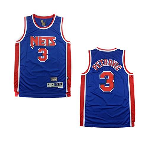 XH-CHEN Jersey de la NBA de los Hombres Brooklyn Nets 3# Petrovic Retro Bordado Jersey, Tops de Entrenamiento sin Mangas Transpirable Tops Chaleco para los fanáticos del Baloncesto,Azul,L