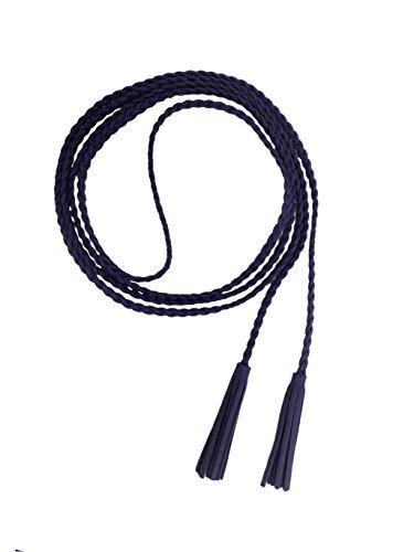 Nanxson Damen Taillengürtel Gewebte Quasten Kettengürtel Leder Dünner Gürtel für Kleid PDW0042 (navy