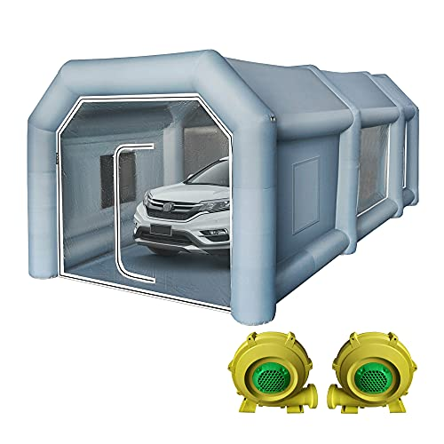 Carpa de Cabina de Pintura Inflable con 2 Ventiladores 750W+350W con Sistema de Filtro de Aire Cabina de Pintura Inflable Profesional Carpa de Pintura de Coche portátil para exposición de Garaje