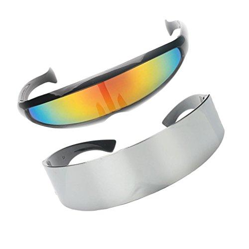 Futuristische Sonnenbrille Brille 2er Set gespiegelt Objektiv Space Alien Robot Kostüm für Herren Damen