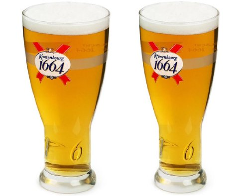 OFFICIAL BRANDED KRONENBOURG 1664 PINT GLASS (2) by Kronenbourg
