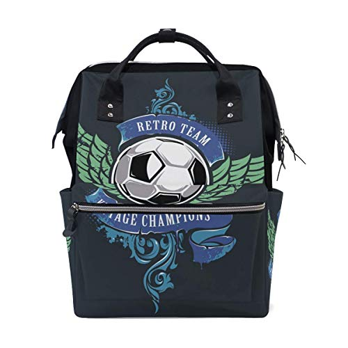 NHJYU Cute Wing Football Travel Sac à dos Large Nappy Sac à langer Laptop Sac à doss for Women Men