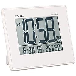 Seiko CLOCK clock large-screen, temperature and humidity radio digital alarm clock (white) SQ770W