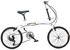 OUKANING Blanco Bicicleta Plegable de 20 Pulgadas Bicicleta Plegable Bicicleta Plegable Bicicleta de 7 velocidades Freno Doble V
