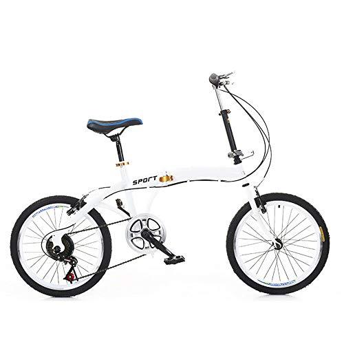 Bicicleta plegable de 50,8 cm, ligera y plegable, 7 velocidades, doble V, freno de acero al carbono, para adultos y niños