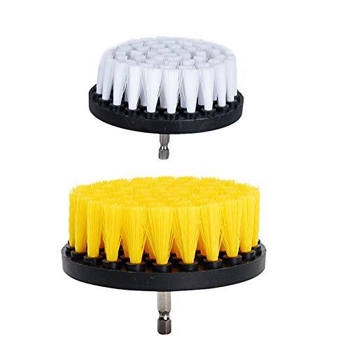 OxoxO 2 PCS, 4 Zoll weich und 5-Zoll-Medium Drill Brush Power Scrubbing Brush Drill Anlage f¨¹r die Reinigung von Duschen Tubs B?der Fliesenm?rtel Teppich Reifen BoatsUpholstery