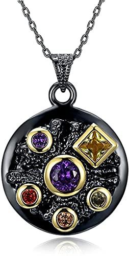 NC198 Collar con Colgante Redondo gótico, joyería de Fiesta para Mujer, Cadena Larga de Piedra de circonita Infinita Colorida