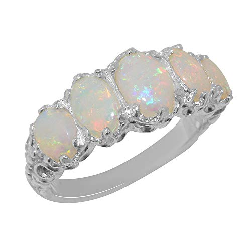 9ct White Gold Ladies 5 Stone Colourful Fiery Opal Ring - Size W