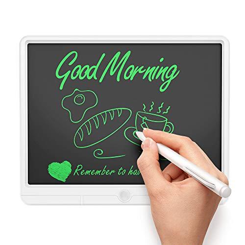 mcglobal Tableta de escritura LCD de 15 pulgadas para niños con pantalla de resaltado grande, ultra fina, pizarra de dibujo digital, para familia, negocios, con bolígrafo, color blanco