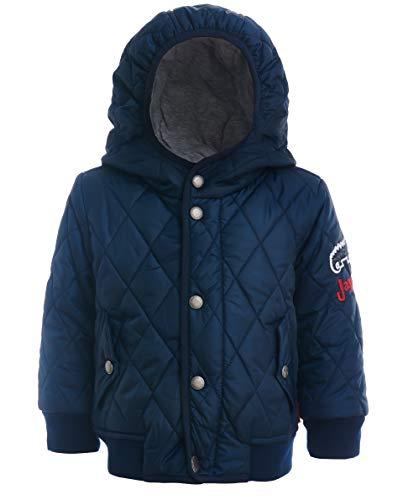 GULLIVER Baby Jacke Junge Winterjacke Daunenjacke Outdoor Blau mit Patch mit Kapuze 74 80 86 92 cm