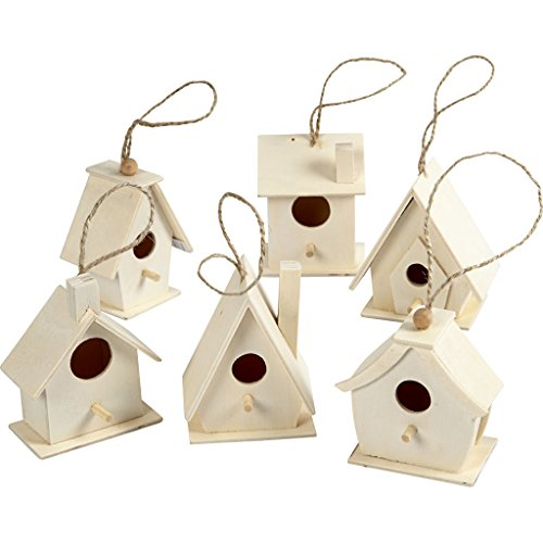 Vogelhaus 7 cm Pappel 6 verschiedene Farben