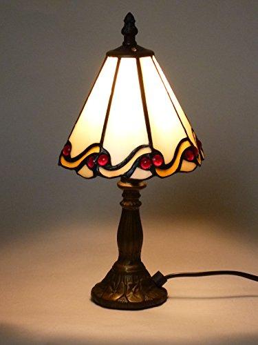 Tiffany-Tischleuchte-Lampe Echtglas Dora, E14 x1 max. 40W, H: 31cm, Schirm D: 15cm, Fuß D: 8cm, Nachttisch-Fensterbank-Fernseh-Kommode-Leuchte-Lampe