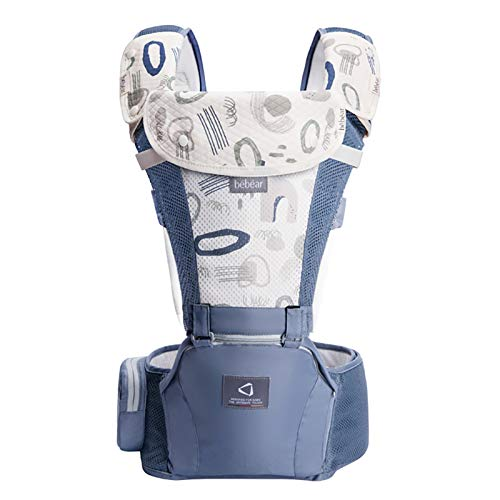 Bebamour Babytrage für 0-36 Monate, 3D Air Mesh Babytrage Rucksack für Neugeborene bis Kleinkinder, nach Sicherheitsstandard zugelassen, ergonomischer Baby-Hüftsitz 6 in 1 Fronttrage (Blue)