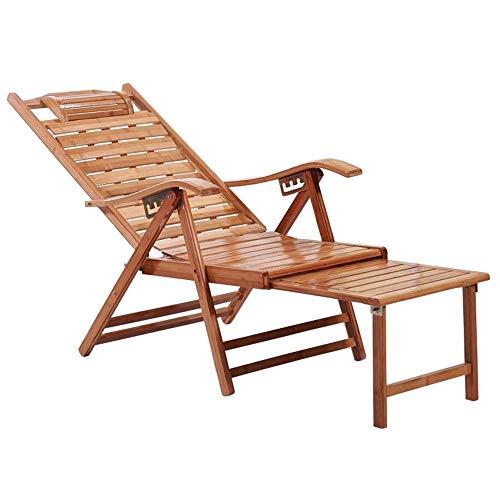 BANNAB Sillón reclinable de bambú Alargado Ajustable en Varias Posiciones con reposapiés...