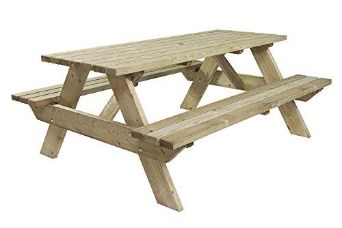 Picknicktisch 'Luxus' 180 cm, schwerlast Picknicktisch aus 40 mm FSC Fichtenholz, druckimprägniert