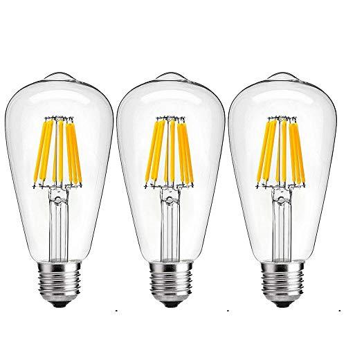Luxvista Sin-Parpadeo 8W ST64 E27 Regulable Vintage Edison Bombilla LED Decorativa con 800 Lúmenes, 75-80W Equivalente (3-Unidades, Fría 6000K)