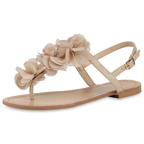 SCARPE VITA Modische Damen Sandalen Blumen Zehentrenner Sommer Schuhe 164120 Nude Blumen 38