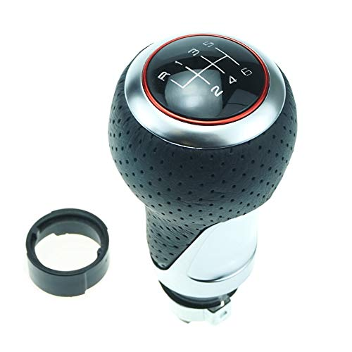 Schaltknauf Schalthebel Leder Chrom 12-13 mm Durchmesser 6 Gang - Roter Ring/Silber Ring
