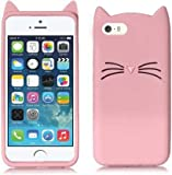Aarnik Cat Ears Soft Silicone Rubber Back Case Cover for Apple i-Phone 5/5S/5C/SE