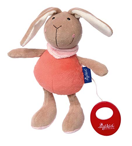 sigikid, Fille, Peluche Musicale, Lapin, Blue Collection, Saumon/Orange, 41860