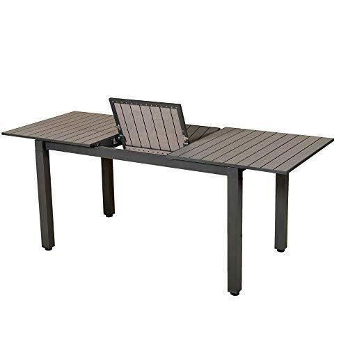 Les Jardins Table Balcon Exterieur Rectangulaire Extensible avec Système d'Allonge pour 4 à 6 Convives | Longueur Modulable de 138 à 185 cm - Largeur 75 cm