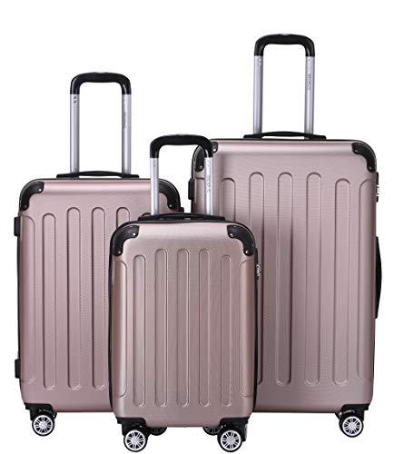 BEIBYE Zwillingsrollen Hardcase Reisekoffer Koffer Trolleys Hartschale in XL-L-M in 14 Farben (Rosagold, Kofferset)