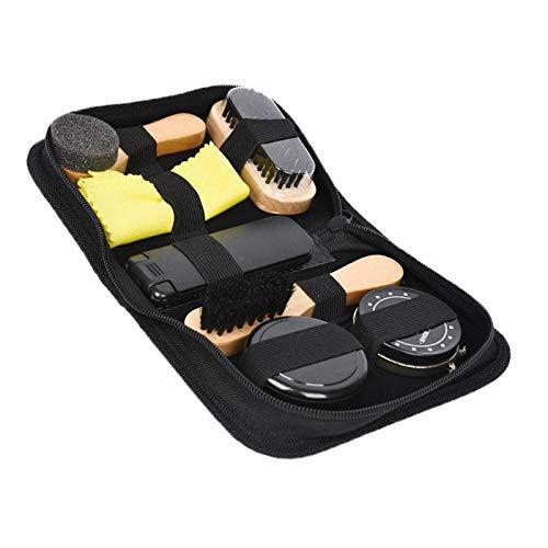 milageto Kit de Limpieza de Zapatos con Zapatos Conjunto de Cepillo de Brillo para el Pulido, Limpiar el paño, Caso de paño de Fieltro
