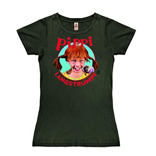 Logoshirt - Pippi Calzaslargas - Retrato - Camiseta Vintage para Mujer - Negro bujia - Diseño Original con Licencia, Talla L