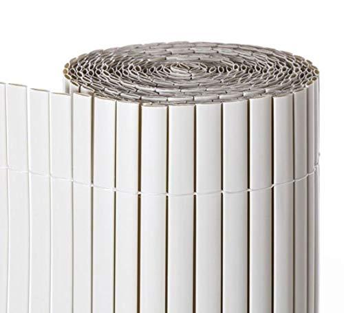 COMERCIAL CANDELA FELPUDOS Y ALFOMBRAS Cañizo PVC Doble Cara con Bridas | Estera de PVC | Resguardo Visual Intimidad para Jardín, Balcón o Terraza | Resistente Color (1,5_x_3_Metros, Blanco)
